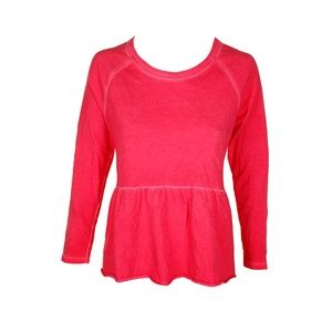 Style & Co Dark Rose Raglan Peplum Sweatshirt